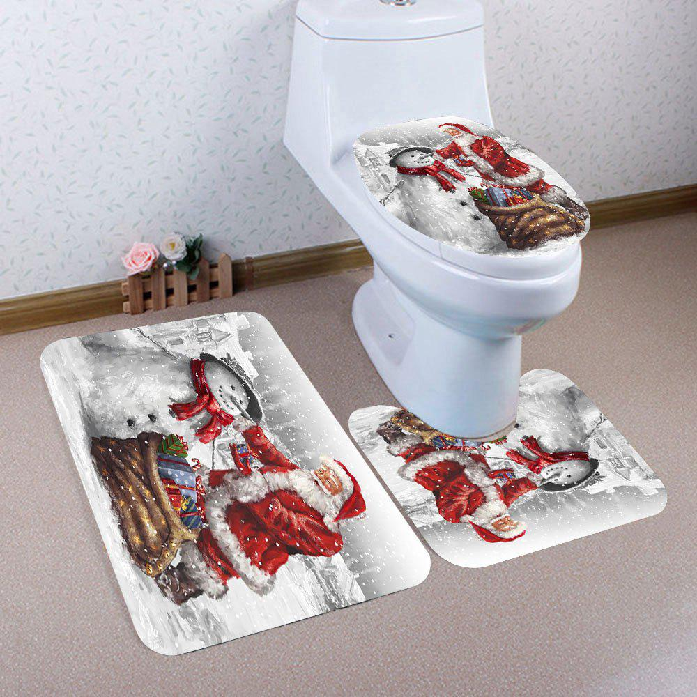 2018 3Pcs Father Christmas And Snowman Pattern Bathroom Mats Set
