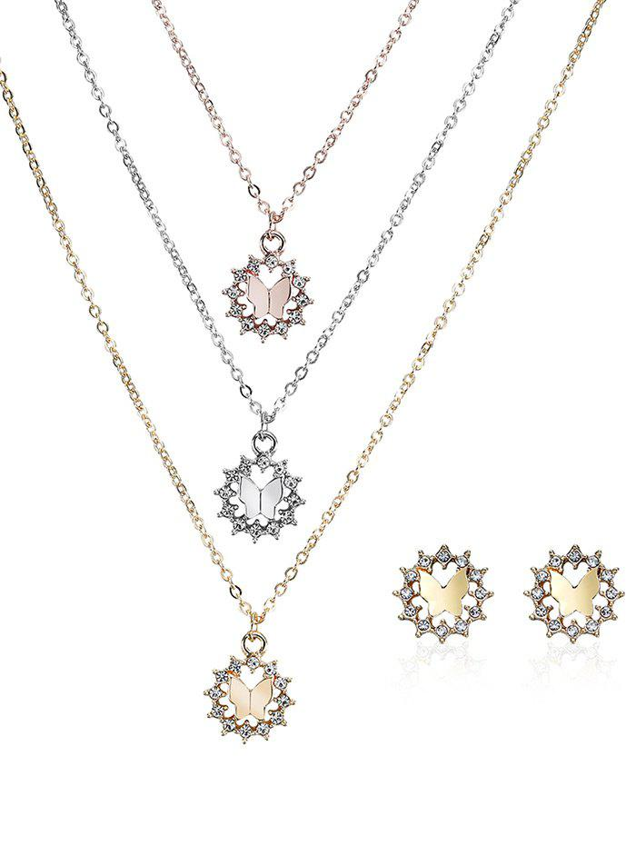 Rhinestone Butterfly Layered Necklace and Earrings - COLORMIX