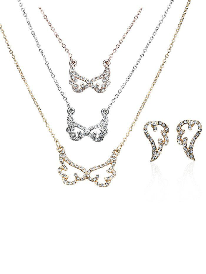 Rhinestone Angel Wing Layered Necklace and Earrings - COLORMIX