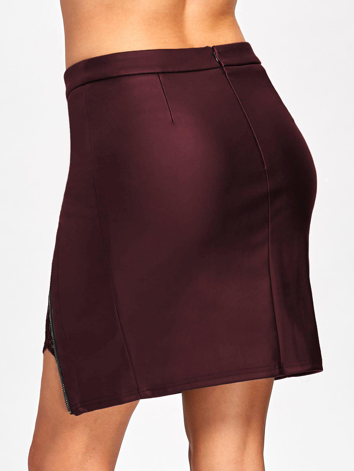 Lace Insert Fitted Faux Leather Skirt - CLARET M