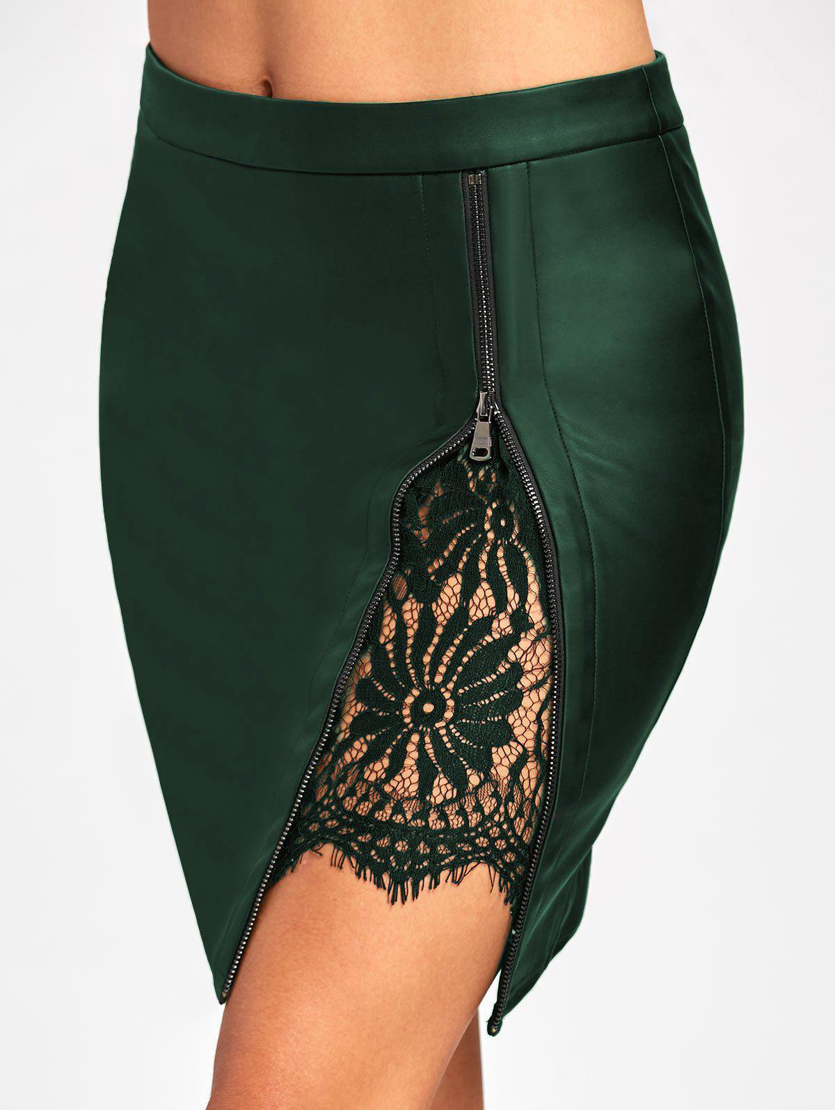 Lace Insert Fitted Faux Leather Skirt - DEEP GREEN M
