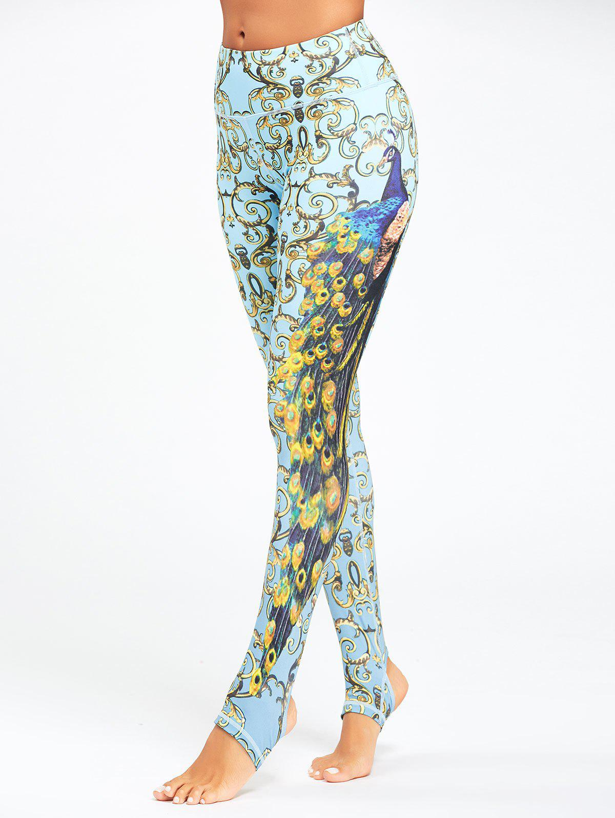 Peacock Printed Yoga Stirrup Leggings - CLOUDY M