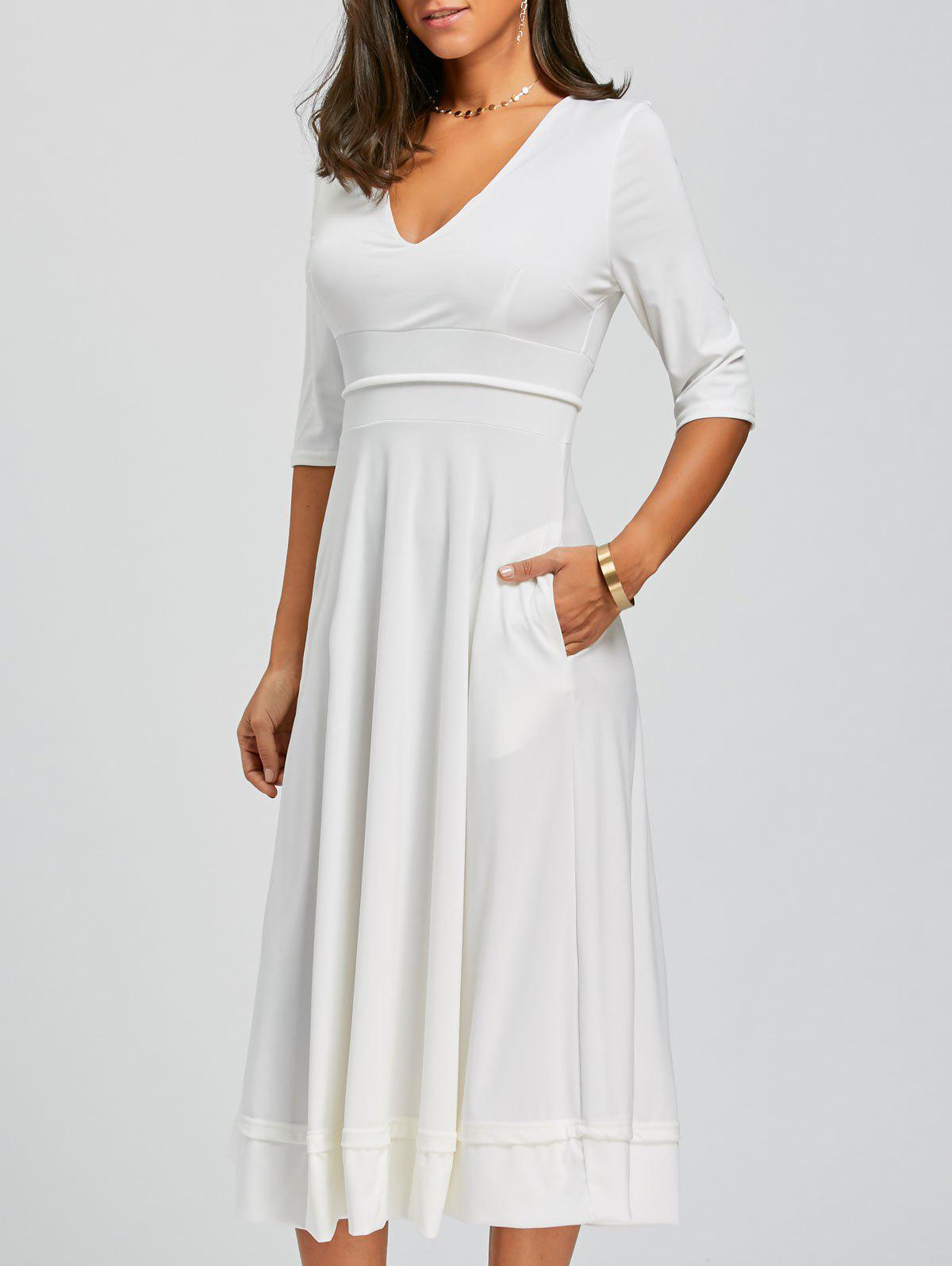 Robe à encolure en V - Blanc L