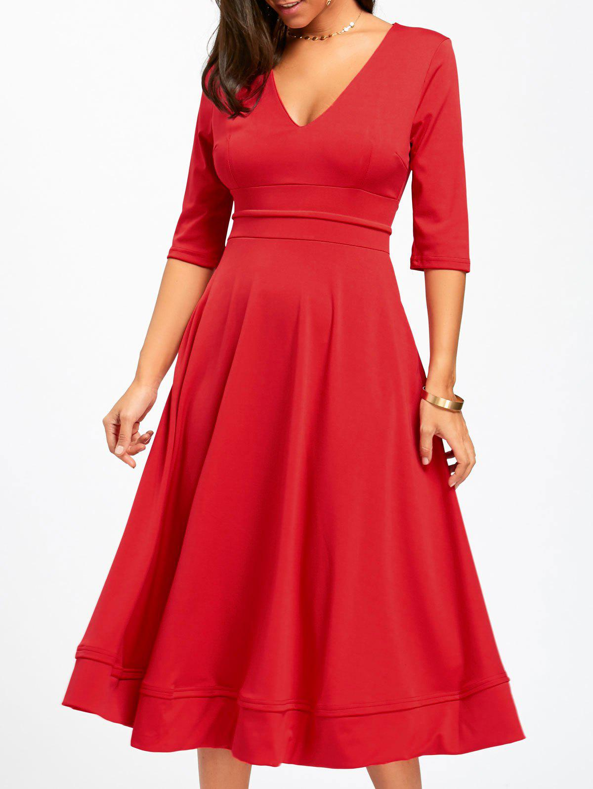 V Neck Fit and Flare Midi Dress - RED S