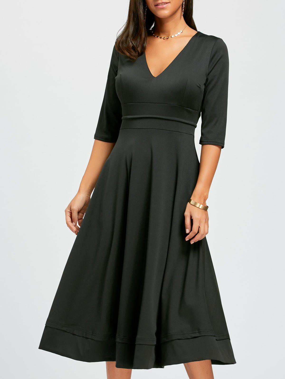 V Neck Fit and Flare Midi Dress - BLACK S