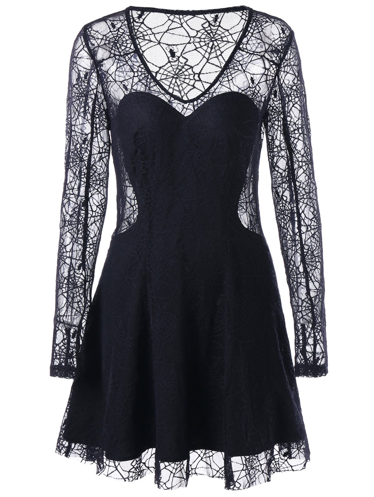 Halloween See Thru Spider Lace Dress - BLACK M