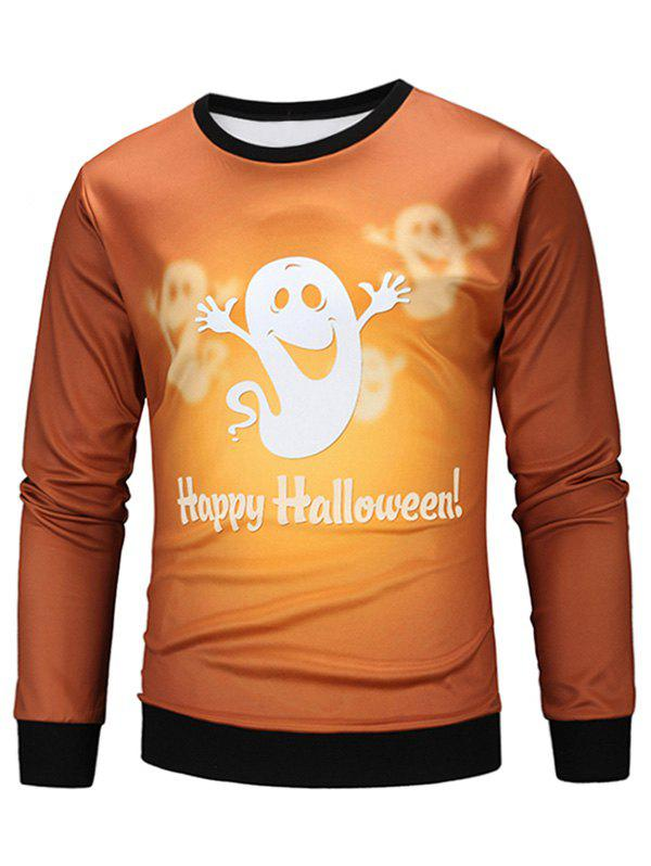 Sweat-shirt Halloween Fantôme Animé Imprimé - multicolore M