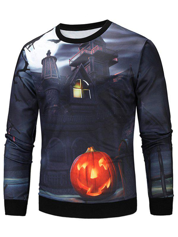 Sweat-shirt Imprimé Citrouille D'Halloween et Maison 3D - multicolore L