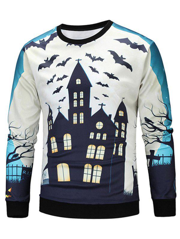 Sweat-shirt 3D Halloween Maison Imprimé - multicolore M