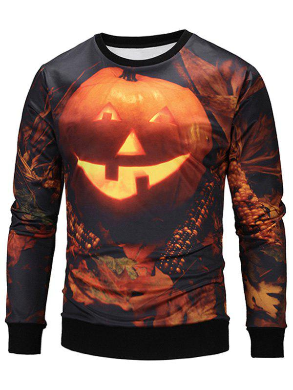 Sweat-shirt Halloween Imprimé Citrouille-lanterne 3D - multicolore XL