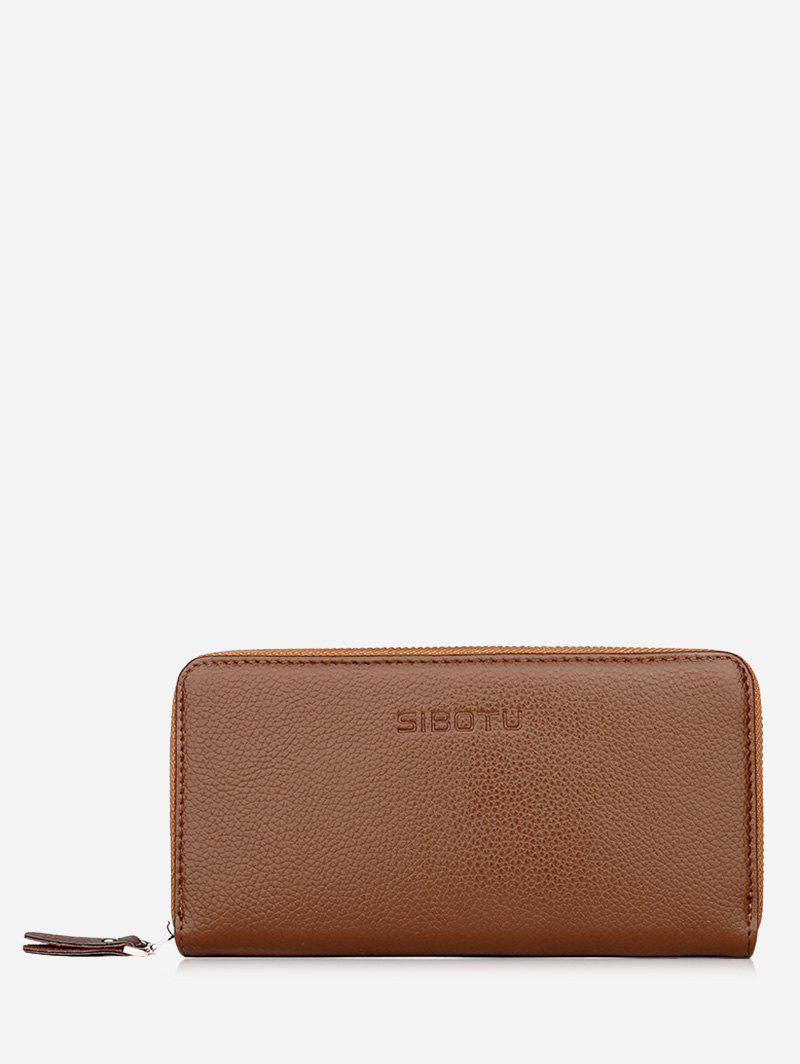 Zip Clutch Faux Leather Wallet - KHAKI