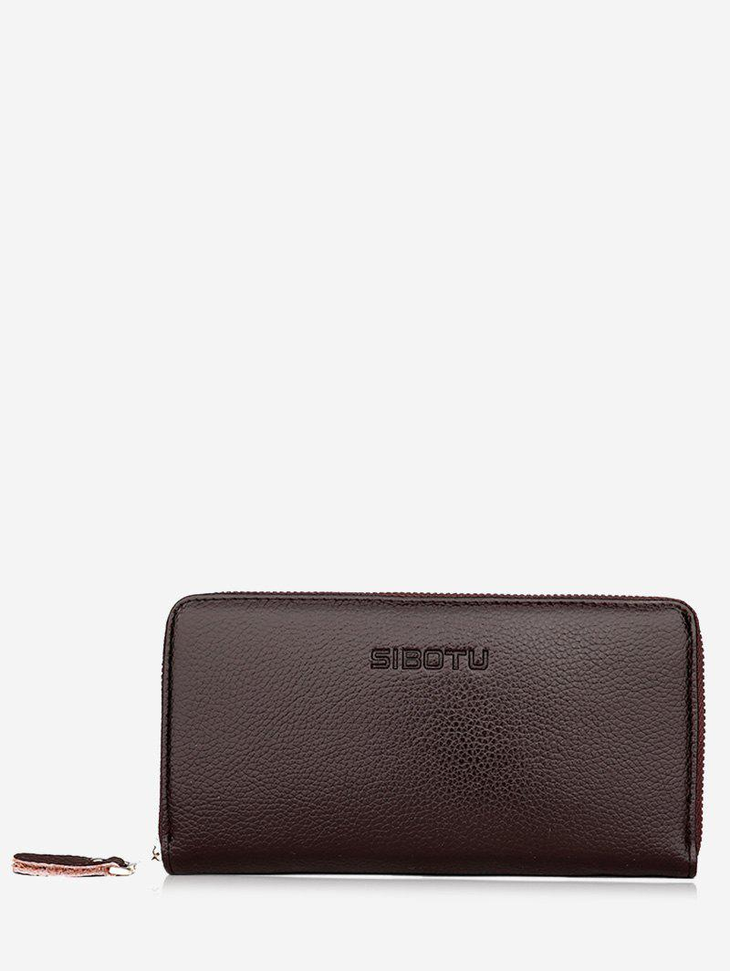Zip Clutch Faux Leather Wallet - BROWN