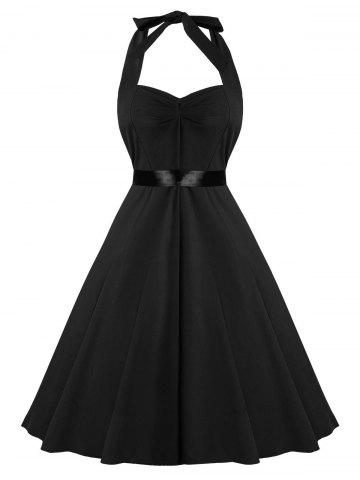79d87569b45 Fit and Flare Halter Vintage Dress