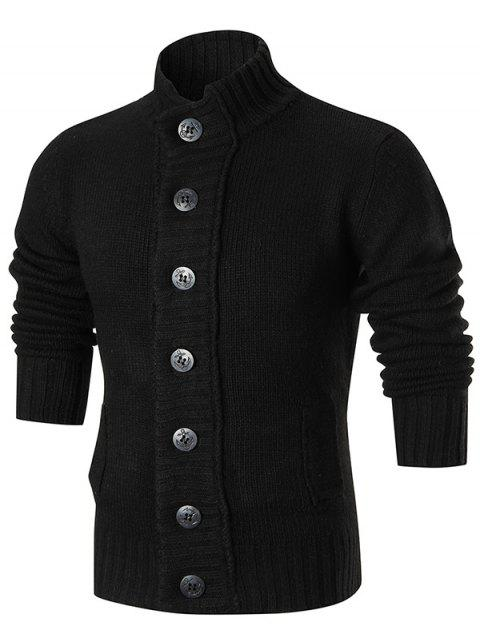 Stand Collar Button Up Sweater Cardigan - BLACK 2XL