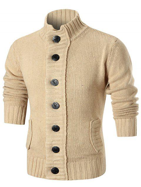 Stand Collar Button Up Sweater Cardigan