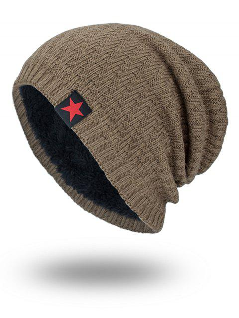 Stripy Thicken Knit Hat with Star Label - KHAKI