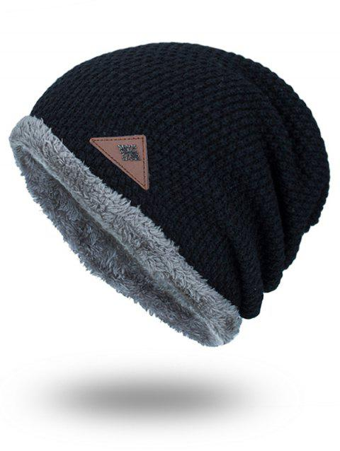 Fluffy Panel Triangle Label Thicken Knit Hat - BLACK