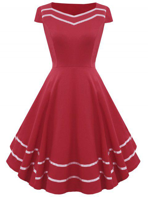 Striped Sweetheart Fit and Flare Vintage Dress - RED L