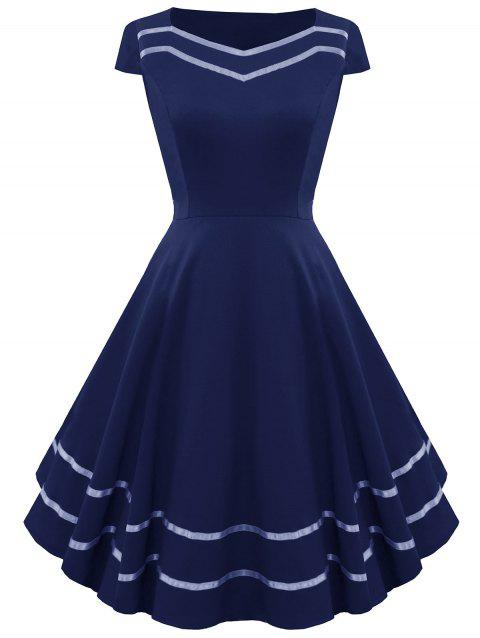 Striped Sweetheart Fit and Flare Vintage Dress - PURPLISH BLUE S
