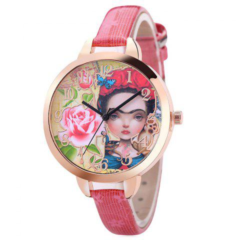 Flower Girl Face Number Watch - PINK