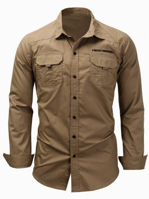 Graphic Embroidery Long Sleeve Cargo Shirt - KHAKI M
