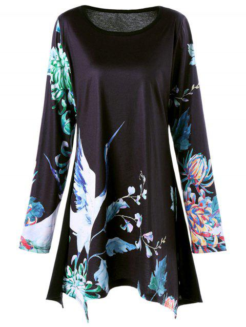 Plus Size Floral Crane Print Long Sleeve Asymmetric T-shirt - BLACK 5XL