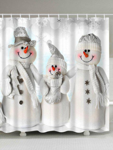 Waterproof Polyester Snowman Christmas Shower Curtain - GREY WHITE W71 INCH * L71 INCH