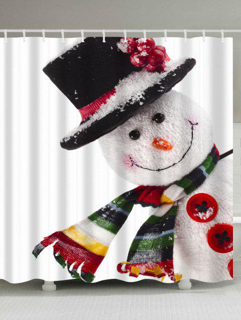 Polyester Waterproof Christmas Snowman Shower Curtain - WHITE W71 INCH * L71 INCH