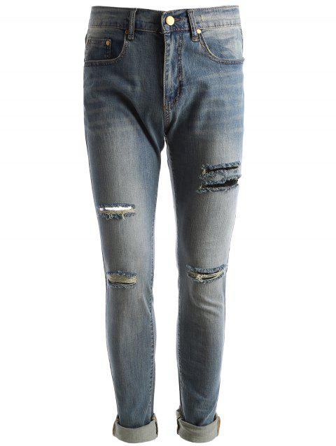 Faded Wash Straight Leg Destroyed Jeans - BLUE 32