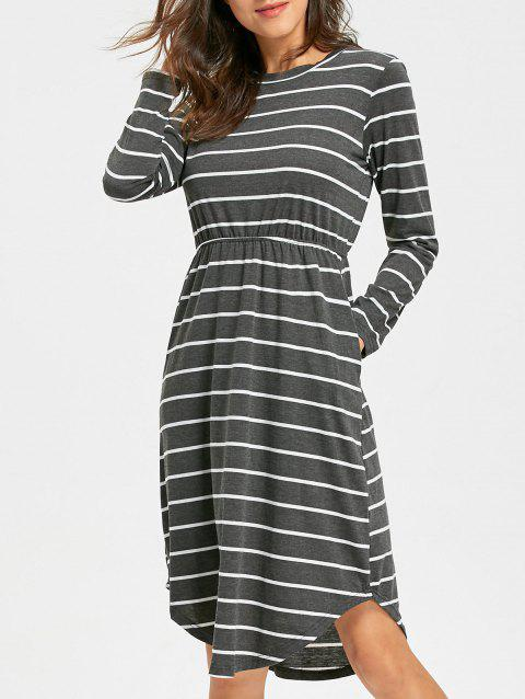 Striped Asymmetrical Hem T Shirt Dress - GRAY S