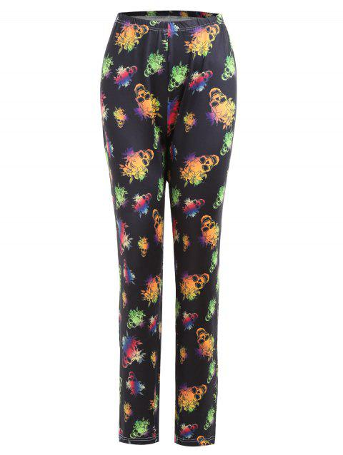 Plus Size Halloween Skull Floral Print Pants - BLACK 2XL