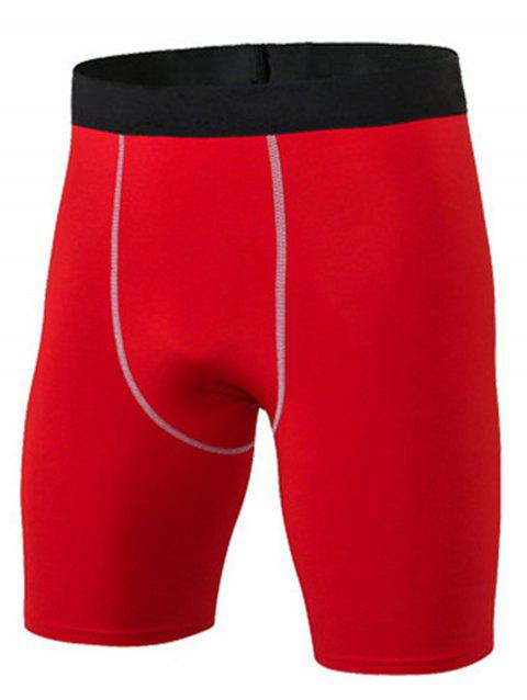 Stretchy Fitted Quick Dry Fitness Jammer Shorts - RED L
