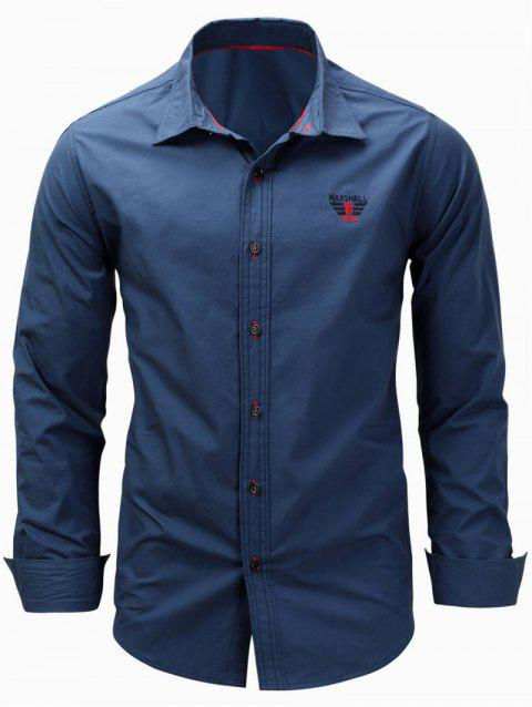Graphic Embroidered Long Sleeve Shirt - DEEP BLUE 2XL