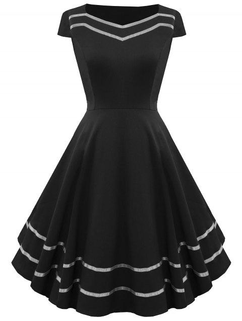 Striped Sweetheart Fit and Flare Vintage Dress - BLACK L