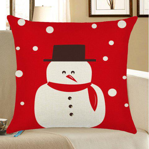 Home Decor Snowman Printed Christmas Pillow Case - RED/WHITE W12 INCH * L20 INCH