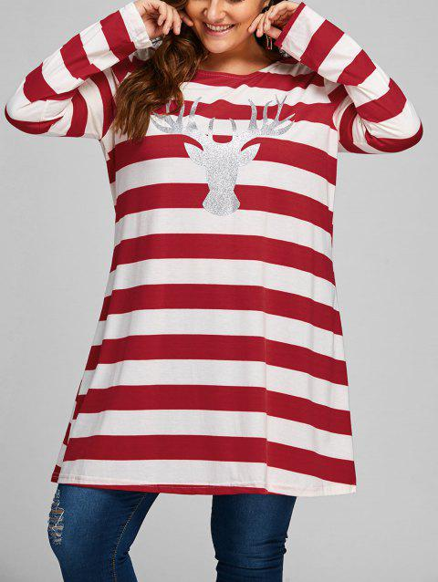 Plus Size Christmas Elk Striped Longline T-shirt - RED XL