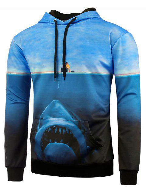 Kangaroo Pocket Shark Printed Hoodie - BLUE 2XL