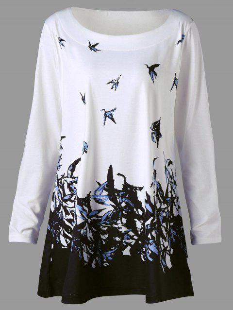 Plus Size Bird Print Long Sleeve T-shirt - WHITE 5XL