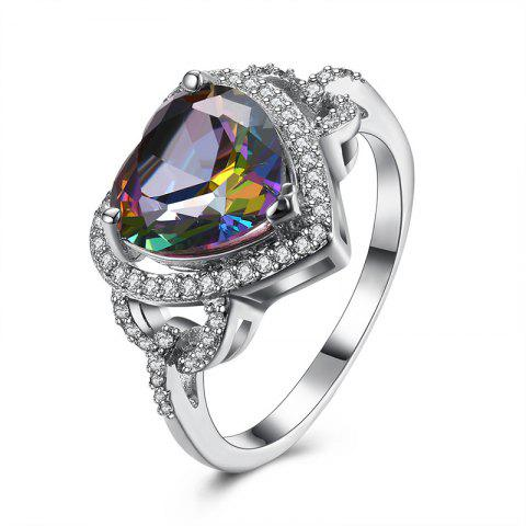 Faux Gemstone Heart Sparkly Finger Ring - Argent 9