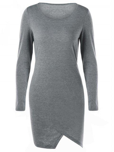 Overlap Long Sleeve Fitted Jersey Dress - GRAY XL