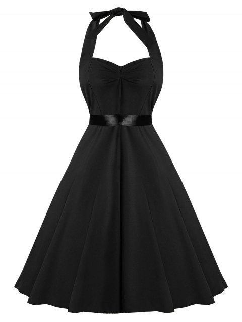 Fit and Flare Halter Vintage Dress - BLACK L