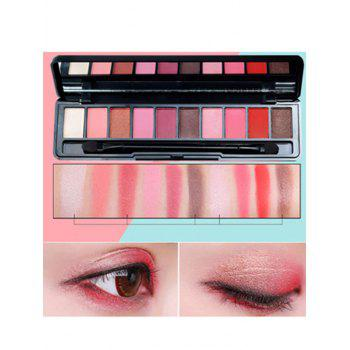 10 Colors Beauty Makeup Eyeshadow Platte With Brush - #01