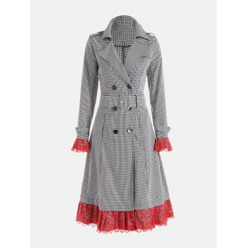Belted Houndstooth Printed Lace Trim Long Coat - WHITE AND BLACK WHITE/BLACK