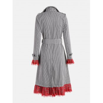 Belted Houndstooth Printed Lace Trim Long Coat - WHITE/BLACK WHITE/BLACK