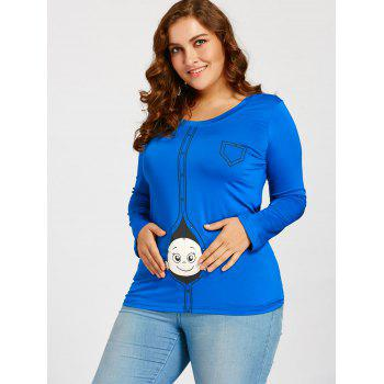 Cartoon Baby Printed Plus Size Long Sleeve T-shirt - BLUE 2XL