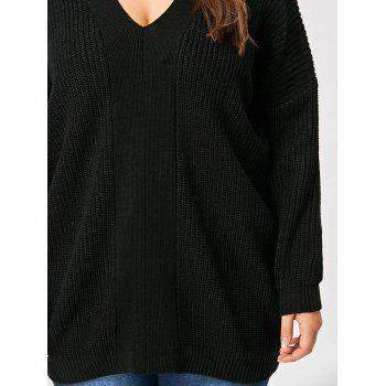 V Neck Back Lace Up Plus Size Sweater - BLACK BLACK