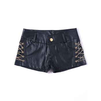 Metal Lace Up Faux Leather Shorts - BLACK BLACK
