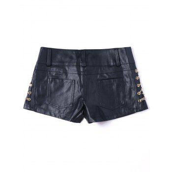 Metal Lace Up Faux Leather Shorts - L L