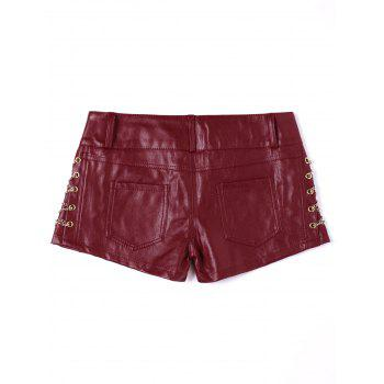 Metal Lace Up Faux Leather Shorts - RED XL