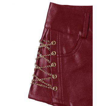 Metal Lace Up Faux Leather Shorts - RED RED